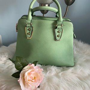 Luxury leather bag in Aqua , mint colour